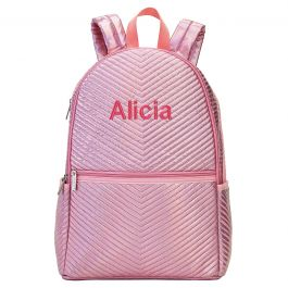 Personalized Pink Chevron Backpack - Name