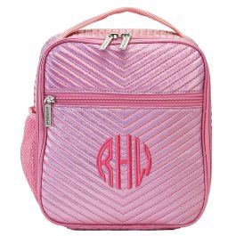 Personalized Pink Chevron Lunch Tote - Monogram