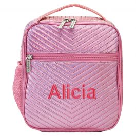 Personalized Pink Chevron Lunch Tote - Name