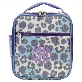 Personalized Snow Leopard Lunch Tote - Monogram
