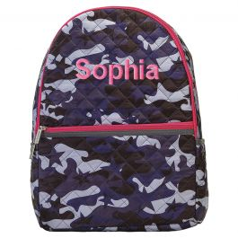 Personalized Midnight Blue Camo Backpack - Name