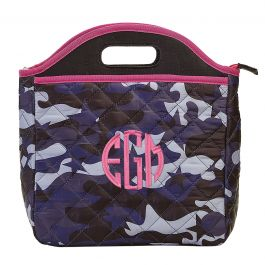 Personalized Midnight Blue Camo Lunch Tote - Monogram