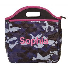 Personalized Midnight Blue Camo Lunch Tote - Name