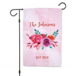 Personalized Floral Family Name Garden Flag