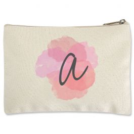 Watercolor Initial Zippered Pouch - Small