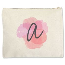 Watercolor Initial Zippered Pouch - Large