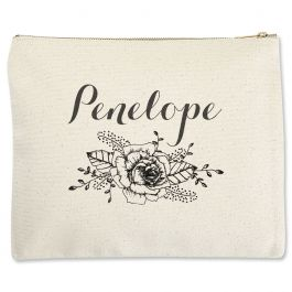 Floral Name Zippered Pouch - Large