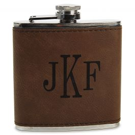 Personalized Brown Flask - Monogram