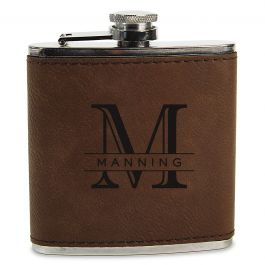 Personalized Brown Flask - Name with Initial