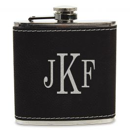 Personalized Black Flask with Initials