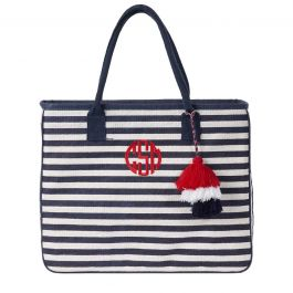 Personalized White/Blue Let Your Stripes Shine Jute Totes