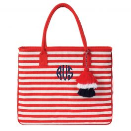 Personalized Red/White Let Your Stripes Shine Jute Totes