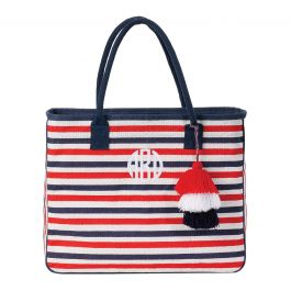 Personalized Red/White/Blue Let Your Stripes Shine Jute Totes