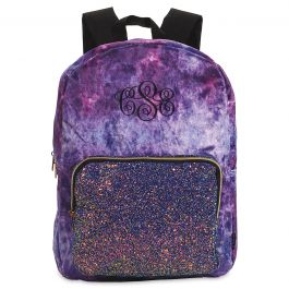 Personalized Purple Crushed Velvet & Glitter Backpack - Monogram