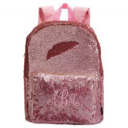 Personalized Pink Crushed Velvet & Glitter Sequin Backpack - Monogram