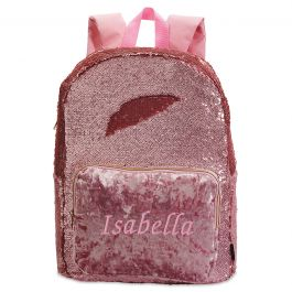 Personalized Pink Crushed Velvet & Glitter Sequin Backpack - Name