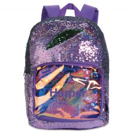 Personalized Purple Magic Sequin Holographic Backpack - Name