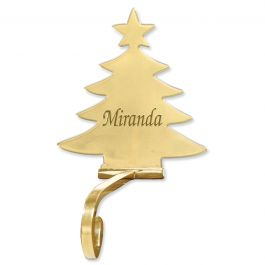 Christmas Tree Solid Brass Personalized Christmas Stocking Holder