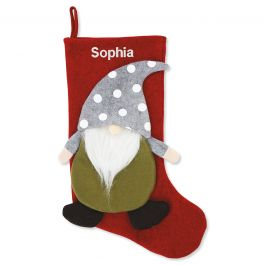 Personalized Red Gnome Stocking