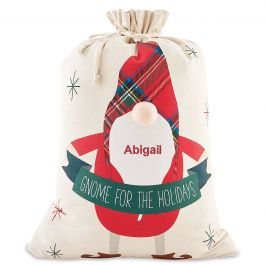 Personalized Holiday Gnome Gift Sack