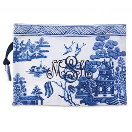 Monogrammed Chinoiseries Pouch - Willow
