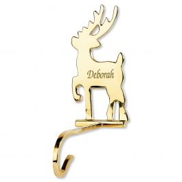 Solid Brass Personalized Christmas Stocking Holder Reindeer