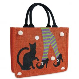 Personalized Cat Trick or Treat Bags with Pom Poms
