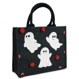 Personalized Ghost Trick or Treat Bag with Pom Poms