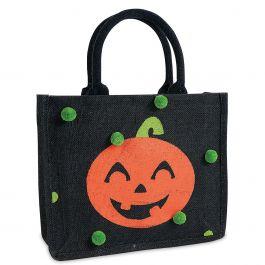 Personalized Jack-o'-Lantern Trick or Treat Bag with Pom Poms