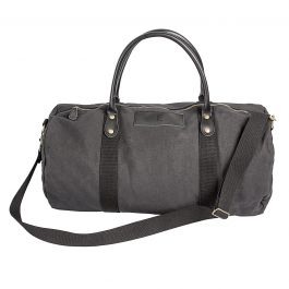 Leather and Waxed Canvas Duffel Personalized - Black