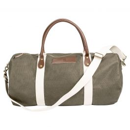 Leather and Waxed Canvas Duffel Personalized - Greenish Brown