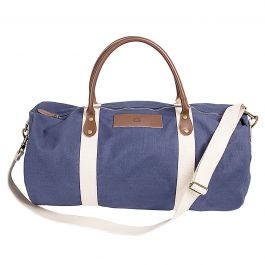 Leather and Waxed Canvas Duffel Personalized - Navy