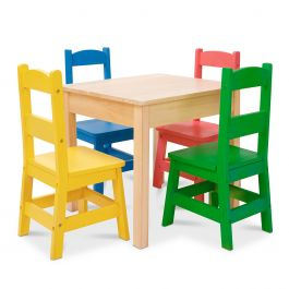 Personalized Primary-Color Chairs and Natural-Finish Table by Melissa & Doug®
