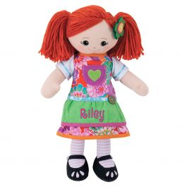Personalized Red-Hair Rag Doll with Apron Dress