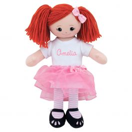 Personalized Red-Hair Rag Doll with Tutu