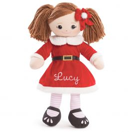Personalized Brunette Rag Doll in Santa Dress