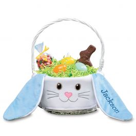 Bunny Face Personalized Easter Basket - Blue