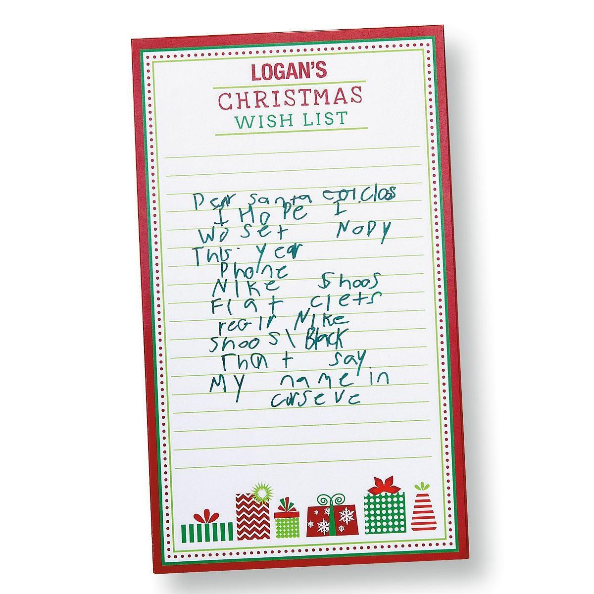 Christmas Wish List Memo Pad  Christmas Wish List Paper