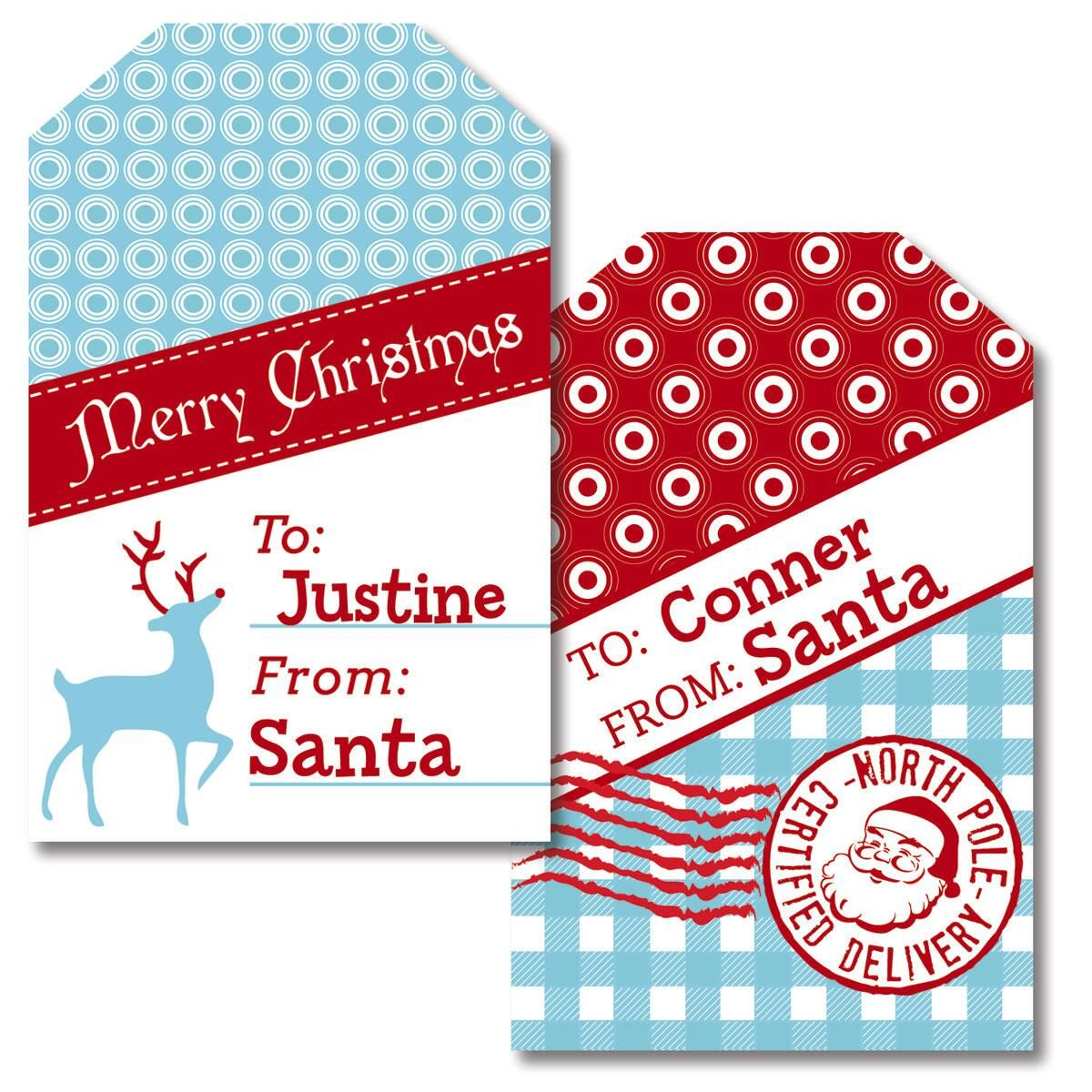 North Pole Personalized Gift Tags by Designer Maureen Anders