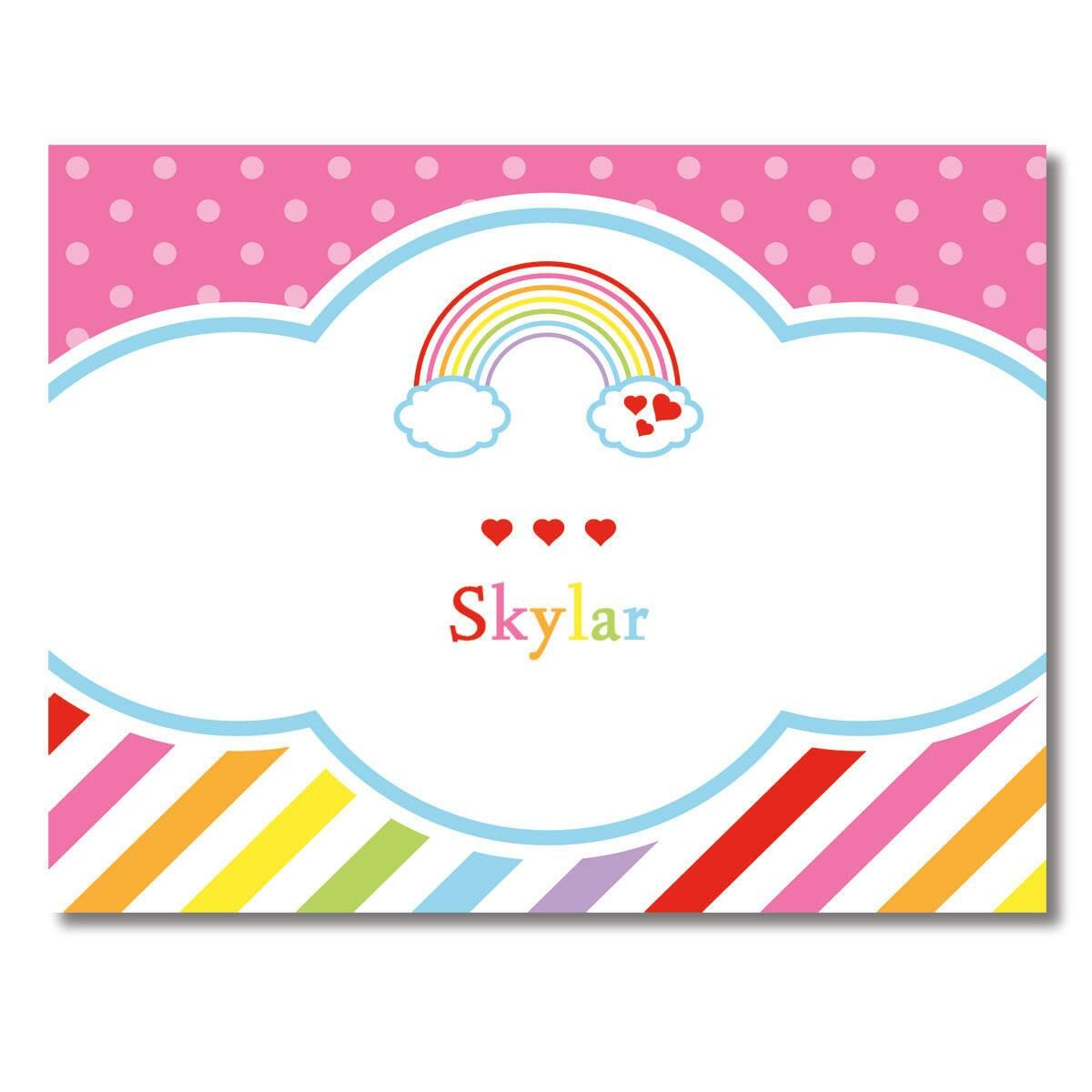 Rainbow Personalized Note Cards by Designer Maureen Anders