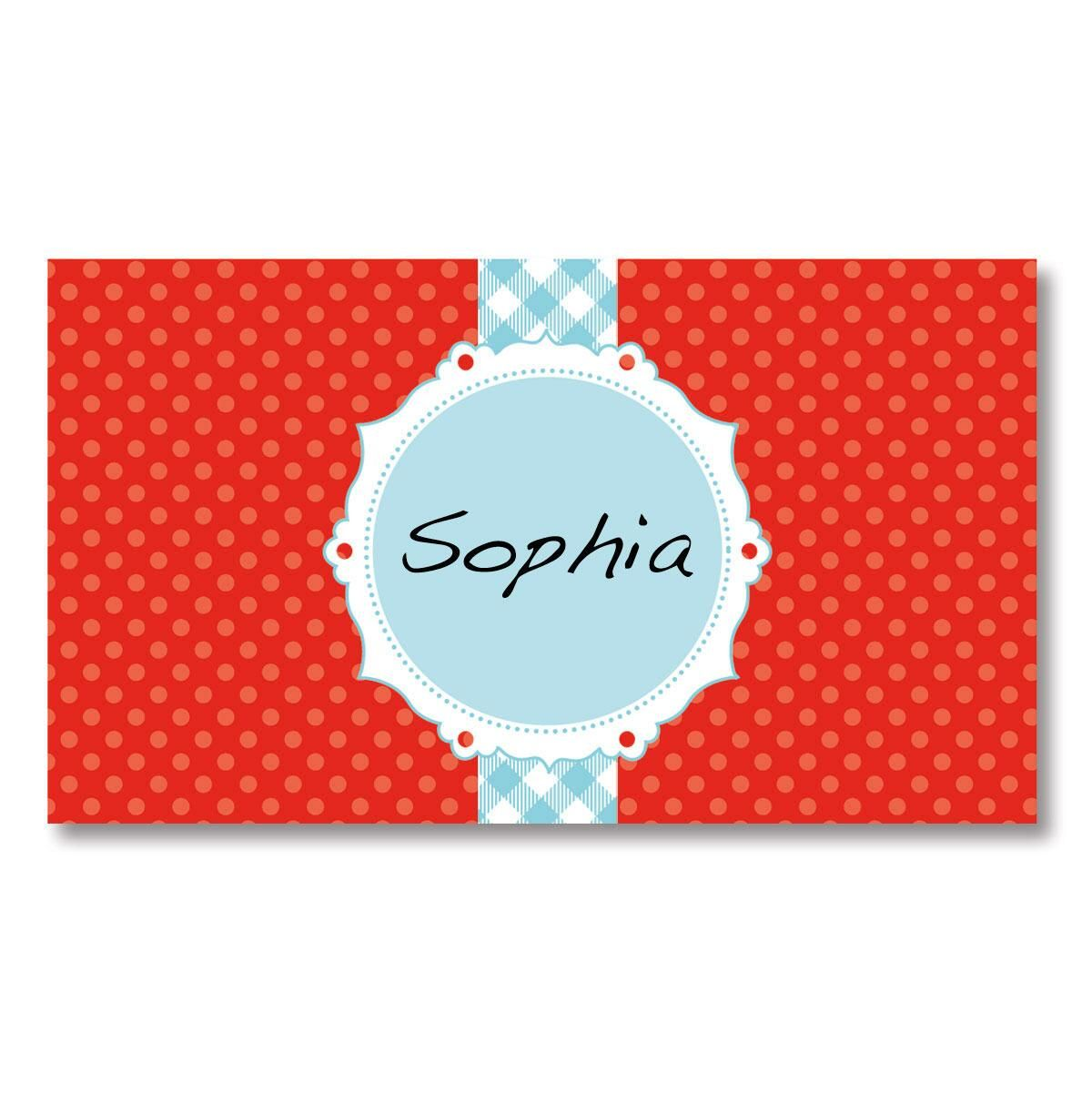 Red and Blue Place Cards  by Designer Maureen Anders