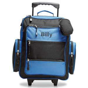 "Blue and Black 18"" Personalized Rolling Luggage"