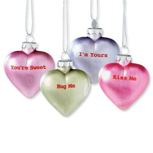 Candy Heart Glass Ornament