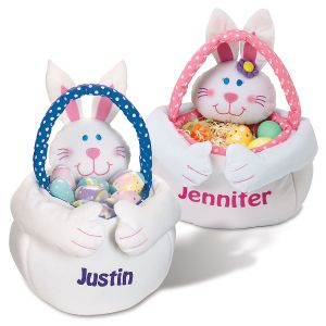 "Personalized 13"" Plush Easter Bunny Totes"