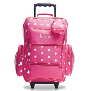 Pink with White Dots Rolling Luggage