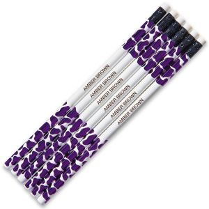 Purple Leopard Personalized Pencils