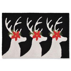 Reindeer Black Doormat