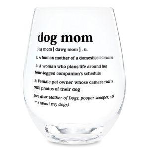Dog Mom Stemless Wine Glass