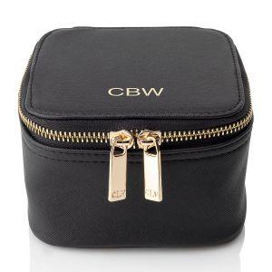 Personalized Black Travel Jewelry Case