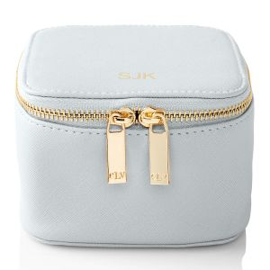 Personalized Light Blue Travel Jewelry Case
